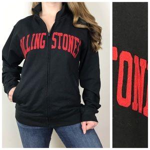 ROCKWARE Black Rolling Stones Sweatshirt Jacket Sm